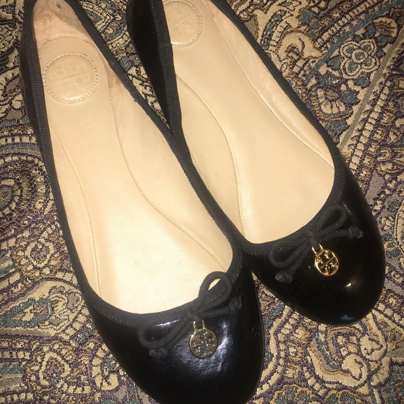 64a5ac02ba99 Tory Burch Black Patent Leather Ballet Flats 7.5